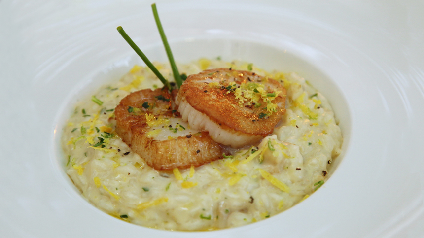 Tequila food pairings: risotto with scallops