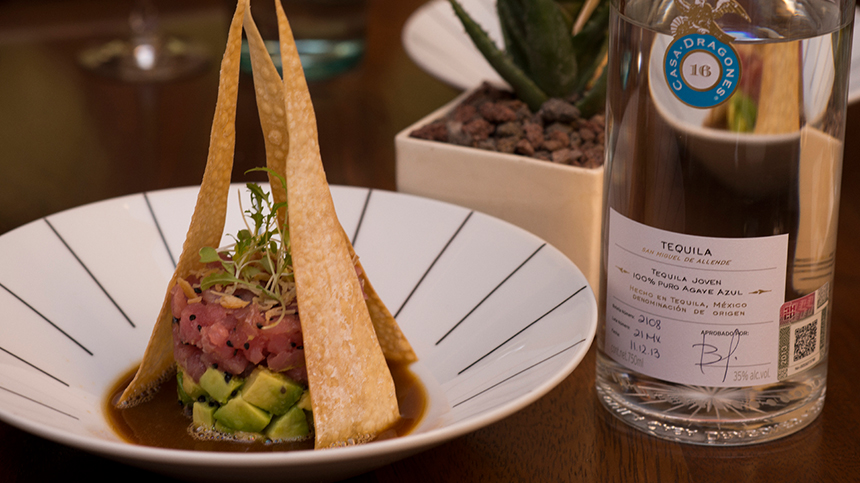 original food combinations: tuna tartar paired with tequila