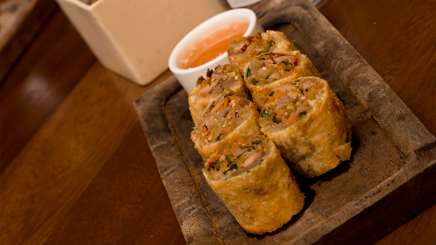 Tequila food pairings: duck vegetable rolls