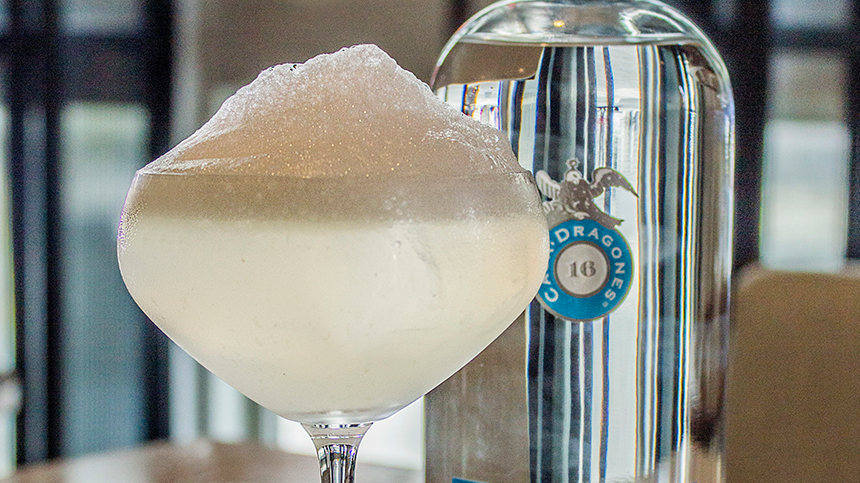 An innovative version of margarita cocktail with Tequila Casa Dragones Blanco
