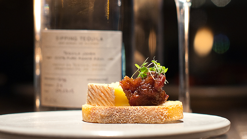 Casa Dragones_pairing_Vulto Creamery Ouleout on crostini with prune compote
