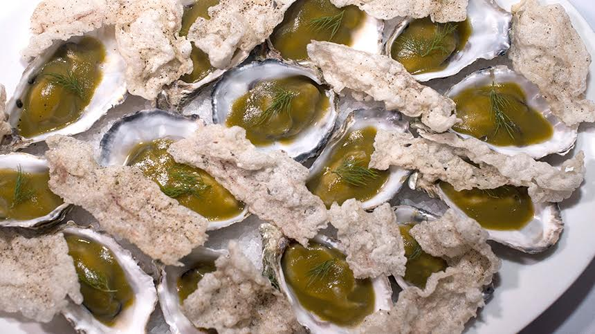 Oysters with cornichon jelly and herb cream