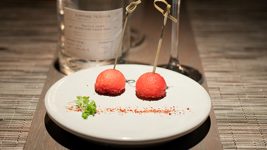 Casa Dragones_Watermelon ball with chili flakes